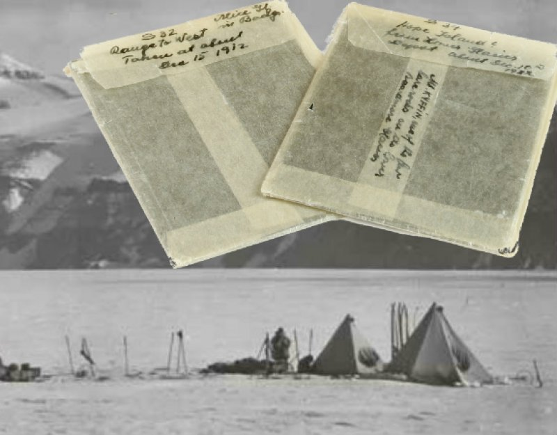 Image of camp under the Wild Mountains, Beardmore Glacier, 20 December 1911, overlaid with close up of two negative envelopes