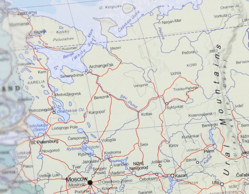 Close up of Russian Federation on a map