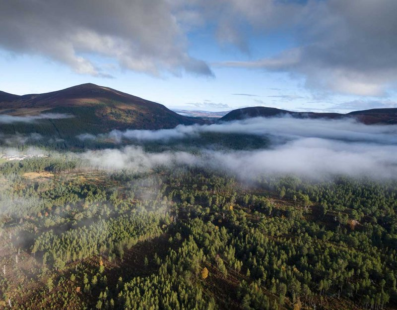 Cairngorms from above with low lying clouds. Photo by James-Shooter