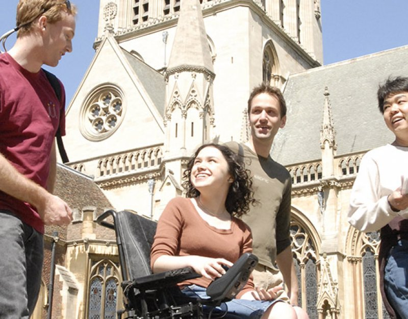 A group of students, including one using a wheelchair