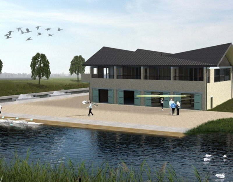 Drawing of the new boathouse complex for the Cambridge University rowing clubs on the Great Ouse at Ely