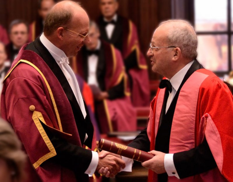 Gifford Combs is shown at his admittance to the Guild of Benefactors