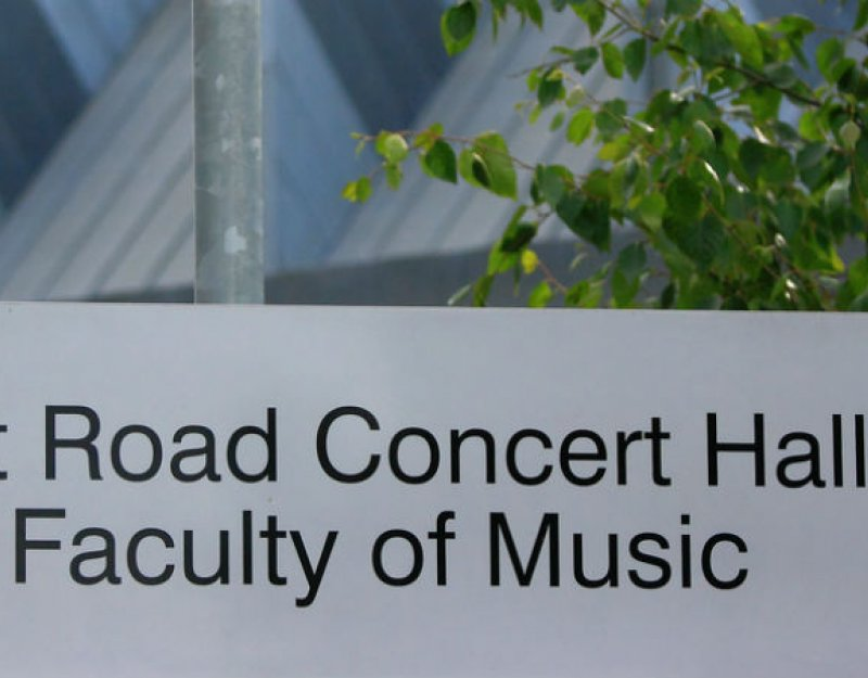 West Road Concert Hall and Faculty of Music sign