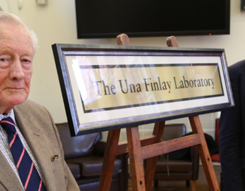 R Derek Finlay, seen with Professor Dobson and the dedication plaque