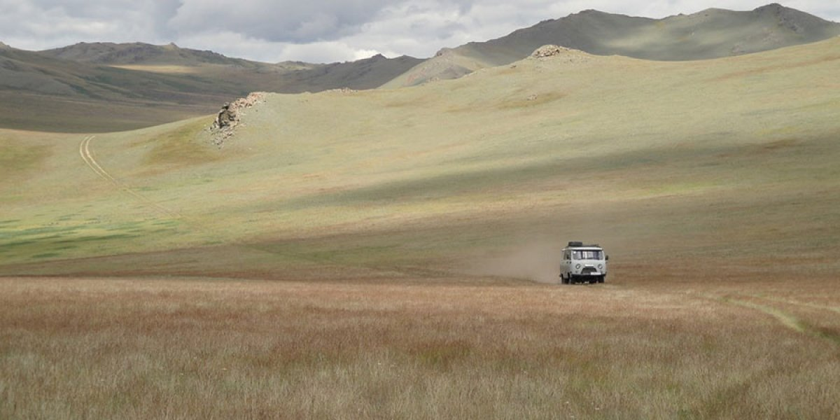 A van makes its way through a grassland landscape. Image courtesy of Professor Ulf Büntgen