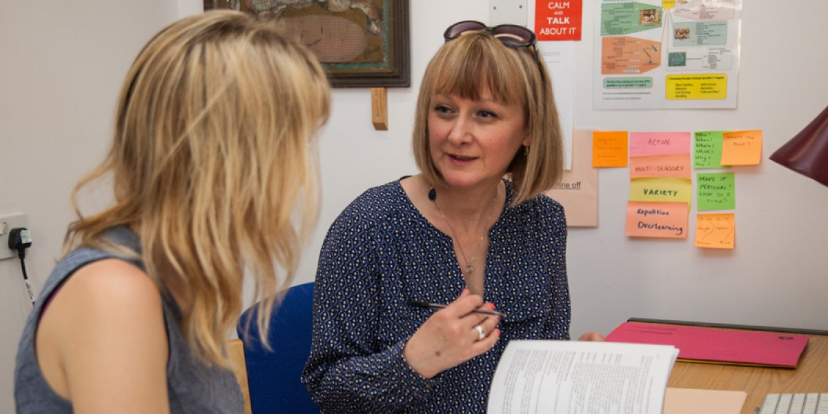 A study skills session taking place, where a study skills tutor supports a student