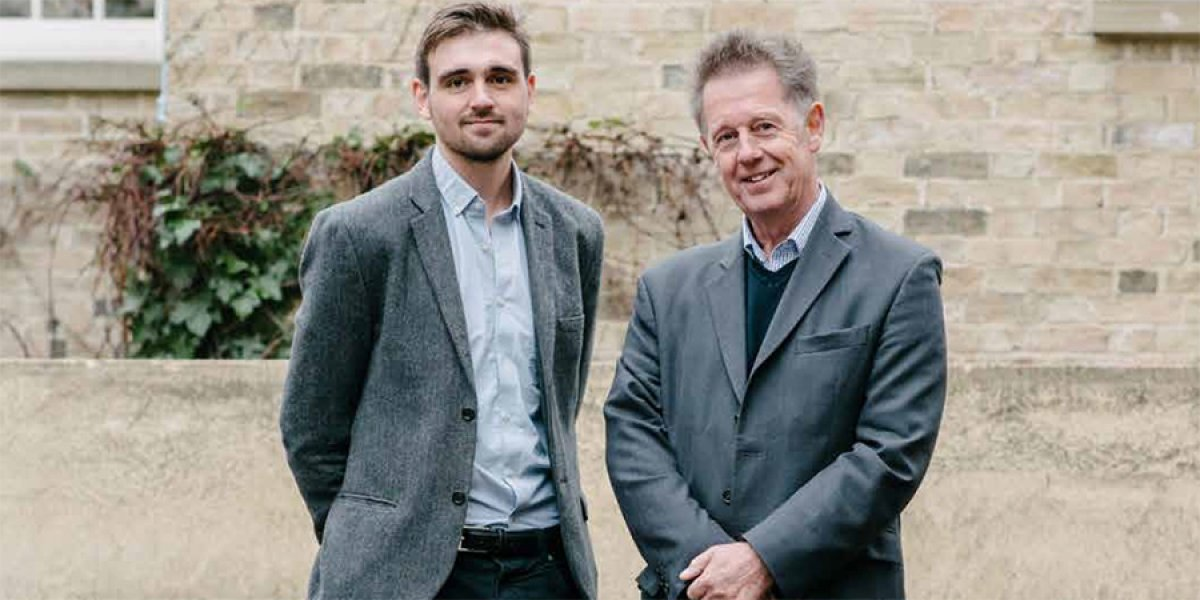 Emeritus Professor Chris Lowe OBE with David Holden-White (Churchill 2014), Master's in Bioscience Enterprise student