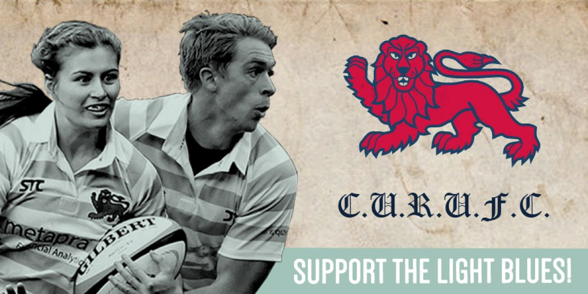 Cambridge University Rugby Union Football Club banner - support the Light Blues