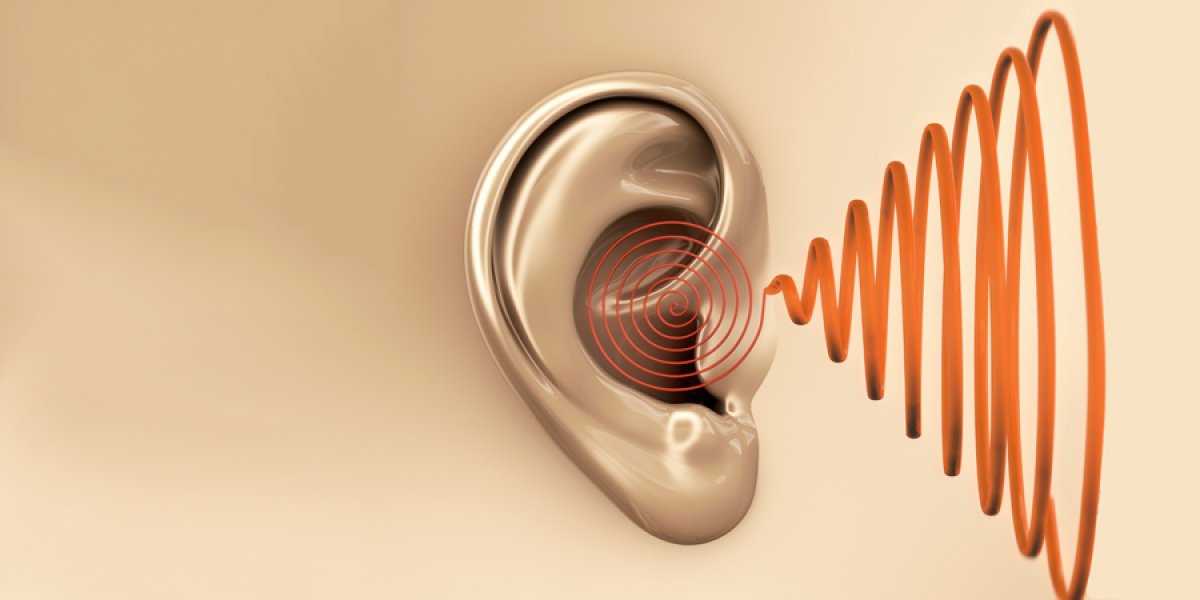 Graphic showing soundwaves reaching the ear