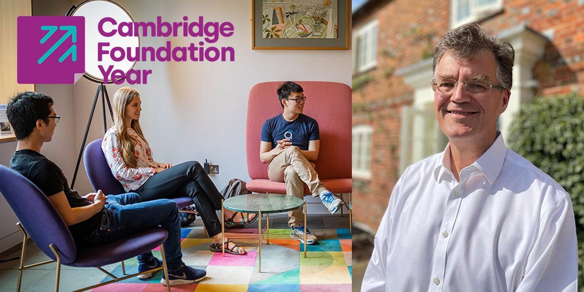 Left: Group of students sitting and talking with Cambridge Foundation Year logo overlaid. Right: Headshot of Ian Mason
