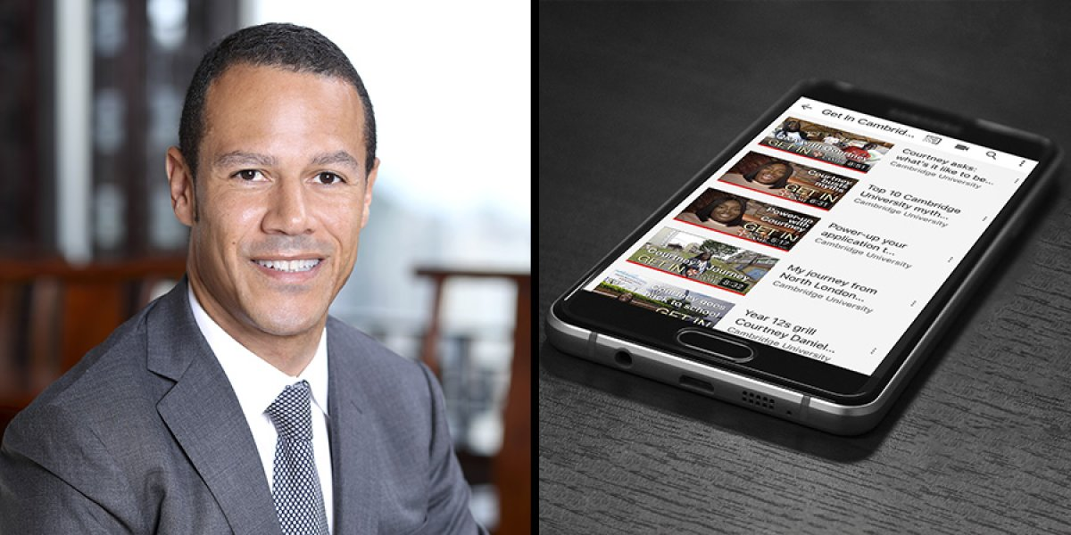 Composite image of Iain Drayton and the videos on a smartphone