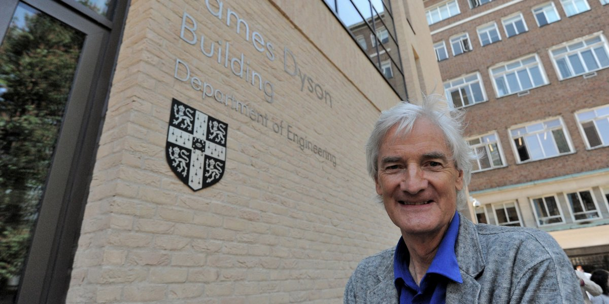 Sir James Dyson outside the James Dyson Building